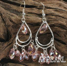 cute drop shape pink manmade crystal earrings