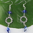 Wholesale lovely gem blue manmade crystal earrings with rhinestone