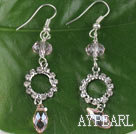 belle rose boucles d'oreille de cristal artificiel avec strass