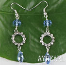 Wholesale lovely blue manmade crystal earrings with rhinestone