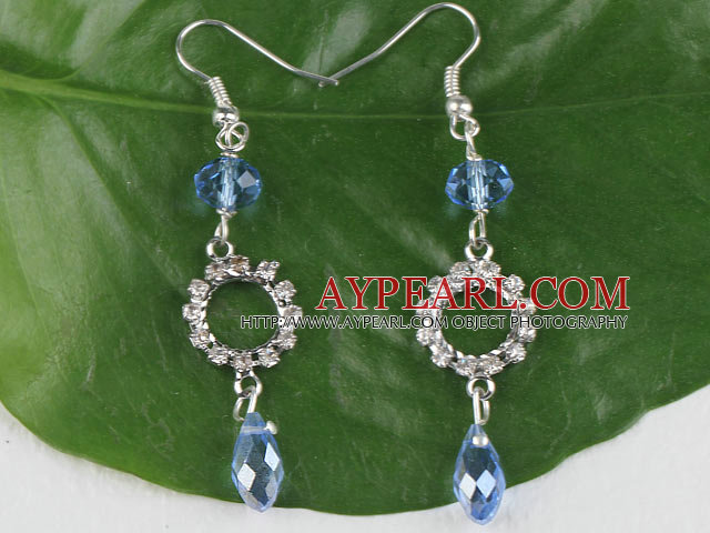 lovely blue manmade crystal earrings with rhinestone