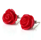Beautiful Red Lovely Rose Shape Ear Studs