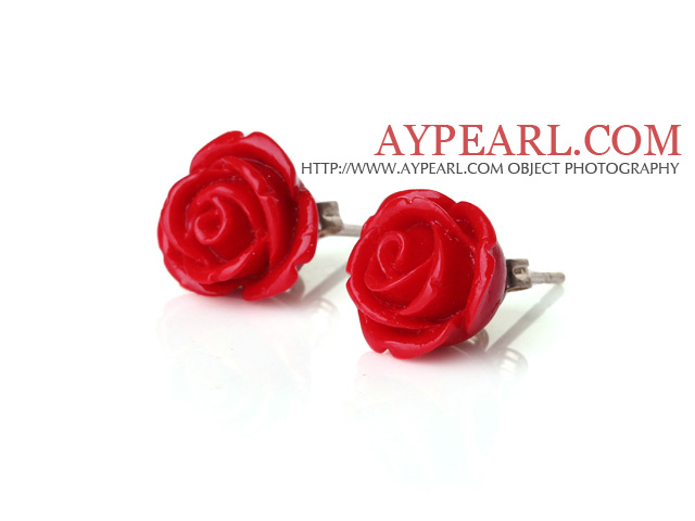 Beautiful Red Coral Lovely Rose Shape Ear Studs