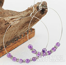 Fashion Large Diameter Amethyst Stone Hoop Earrings With Fish Hook