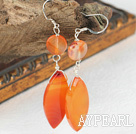 Class Design Orange Color Agate Dangle Earrings With Fish Hook