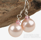 Fashion Austrian Crystal And Round Pink Seashell Beads Drop Earrings
