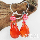 Fashion Red Series Freshwater Pearl And Beaded Loop Teardrop Crystal Earrings With Lever Back Hook