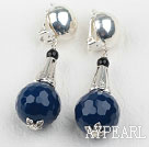 New Design Faceted Blue Agate Clip Earrings