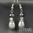 Beautiful Gray And Black Freshwater Pearl Crystal Dangle Earrings