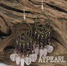 Nice Long Style Vintage Garnet And Rose Quartz Dangle Earrings With Loop Bronze Charm