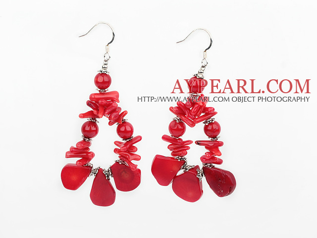 Fashion Mixed Round Teeth Nut Shape Red Coral Loop Earrings With Fish Hook