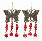 Fashion Vintage Round Red Bloodstone And Butterfly Bronze Charm Dangle Earrings