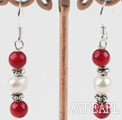 Wholesale white pearl and red coral earrings