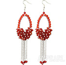 Wholesale New Style Red Series Faceted Carnelian Tassel Fashion Earrings