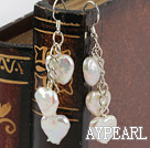 Dangle Style Heart Shape Rebirth Pearl Earrings with 925 Silver hooks