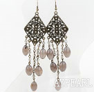 Wholesale Vintage Style Gray Agate and Crystal Long Earrings