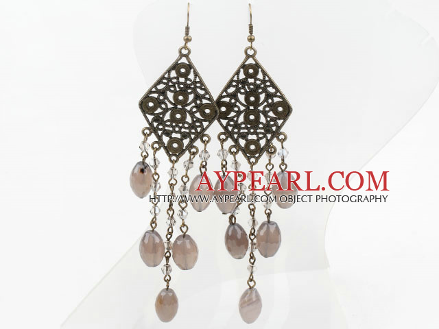 Vintage Style Gray Agate and Crystal Long Earrings