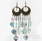 Wholesale Vintage Style Rainbow Fluorite Stone Long Earrings