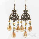 Wholesale Vintage Style Amber Color Crystal Earrings