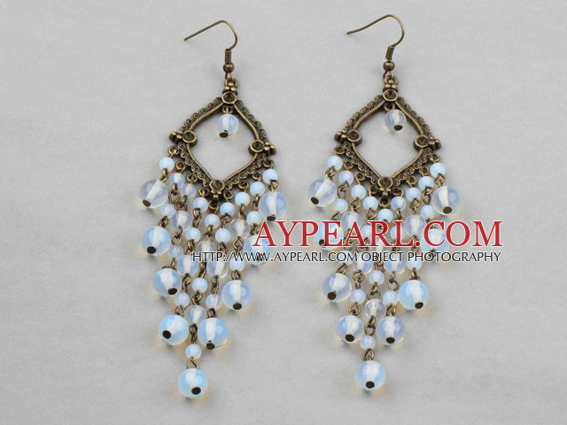 Vintage Style Opal Crystal Chandelier Earrings