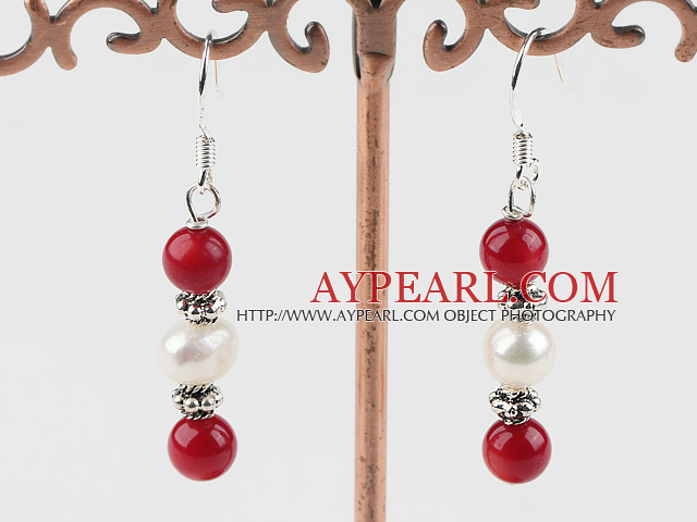 Fashion White Freshwater Pearl And Red Round Coral Dangle Earrings With Fish Hook