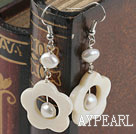 Wholesale white fresh water  pearl and shell earrings