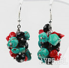 Wholesale Assorted Turquoise and Red Coral and Black Crystal Cluster Earrings