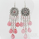 Wholesale New Design Vintage Round And Drop Shape Cherry Quartz Dangle Earrings With Flower Charm