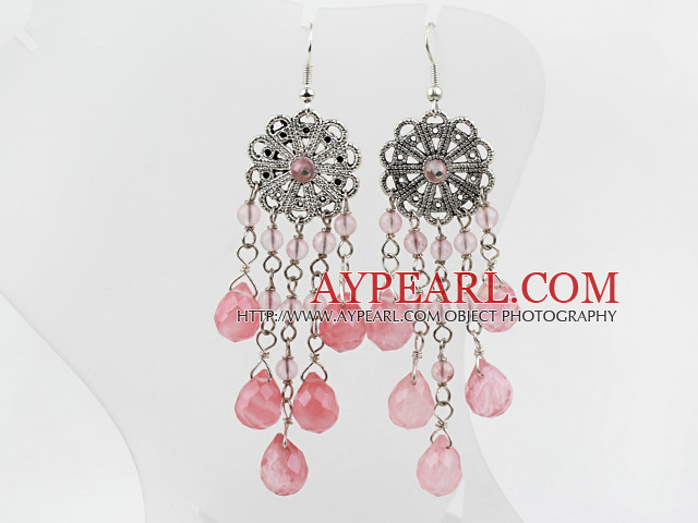 New Design Vintage Round And Drop Shape Cherry Quartz Dangle Earrings With Flower Charm