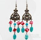 Vintage Style Turquoise and Red Coral Earrings