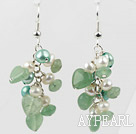 Freshwater Pearl and Aventurine Cluster Earrings