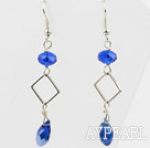 Wholesale Simple Style Sapphire Color Crystal Dangle Earrings