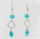 Wholesale Simple Style Blue Turquoise Color Crystal Dangle Earrings