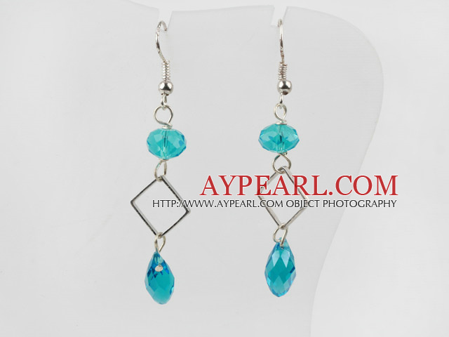 Simple Style Blue Turquoise Color Crystal Dangle Earrings