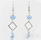Wholesale Simple Style Sky Blue Color Crystal Dangle Earrings
