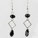 Simple Style Black Crystal Dangle Earrings