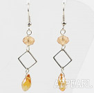 Wholesale Simple Style Yellow Crystal Dangle Earrings