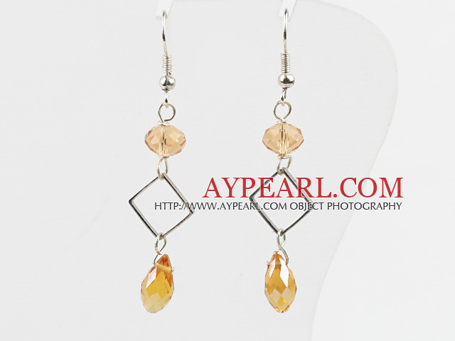 Simple Style Yellow Crystal Dangle Earrings