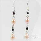 Wholesale Dangle Style Pink Freshwater Pearl and Garnet Long Earrings