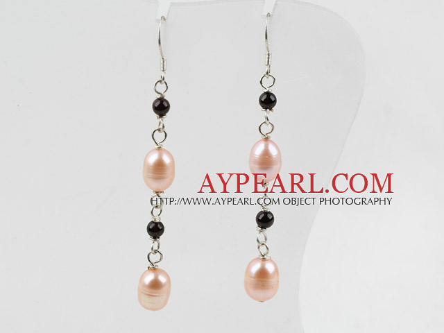 Dangle Style Pink Freshwater Pearl and Garnet Long Earrings