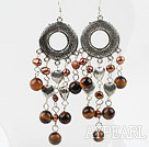 Brown Freshwater Pearl and Tigey Eye Earrings