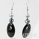 Black Agate and Freshwater Pearl Earrings