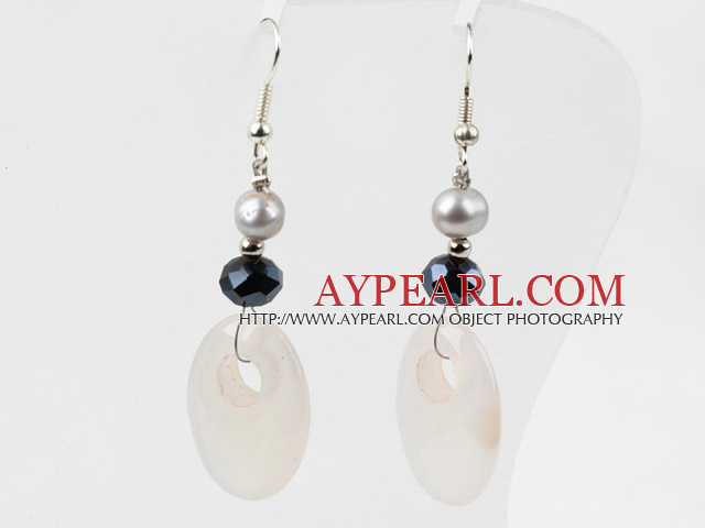 White Agate and Freshwater Pearl Earrings