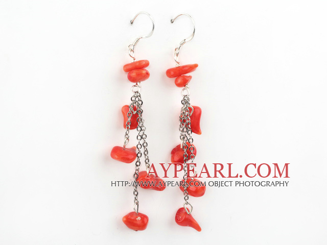 Nice Long Chain Loop Style Chipped Red Coral Dangle Earrings With Fish Hook