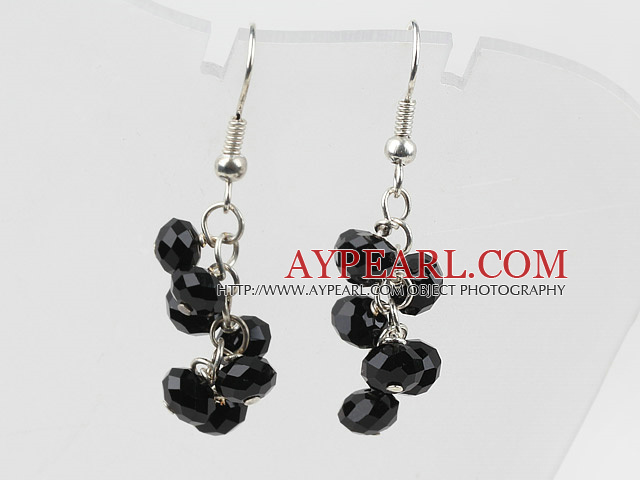 Simple Style Black Crystal Earrings