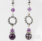 Dangle Style Amethyst Studs Earrings with rhinestone