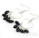 Wholesale Heart Shape Black Crystal Fashion Earrings