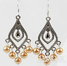 Wholesale Simple Style Golden Champagne Color Seashell Earrings