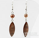 Wholesale Simple Style Brpwn Freshwater Pearl Shell Earrings