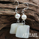 Wholesale New Design White Freshwater Pearl and White lip Shell Earrings